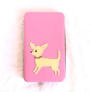 Fluff Chihuahua Snap Lock Wallet Pink Pinup Style